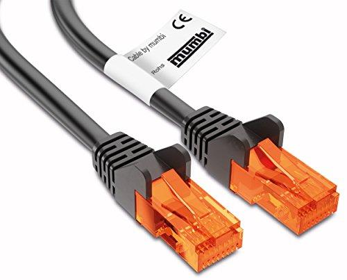 mumbi 3m CAT.5e Ethernet Lan Netzwerkkabel – CAT.5e (RJ-45 3 Meter Kabel in schwarz