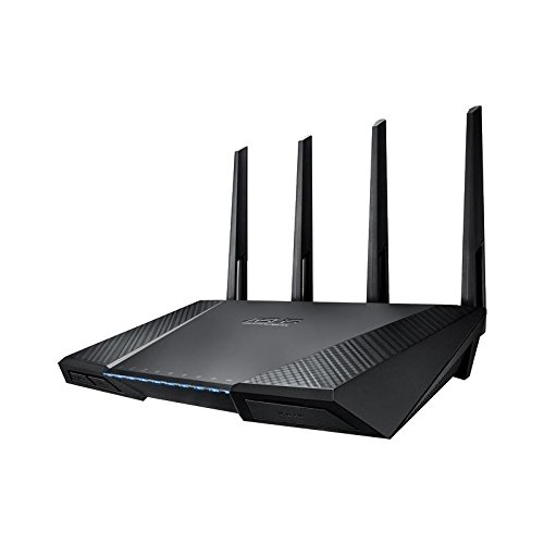 Asus RT-AC87U AC2400 Black Diamond Dual-Band Power WLAN Router (802.11 a/b/g/n/ac, Gigabit LAN/WAN, USB 3.0, Print FTP UPnP VPN Server, IPv6, SSID, AiRadar, Wave 2 Mu-Mimo)
