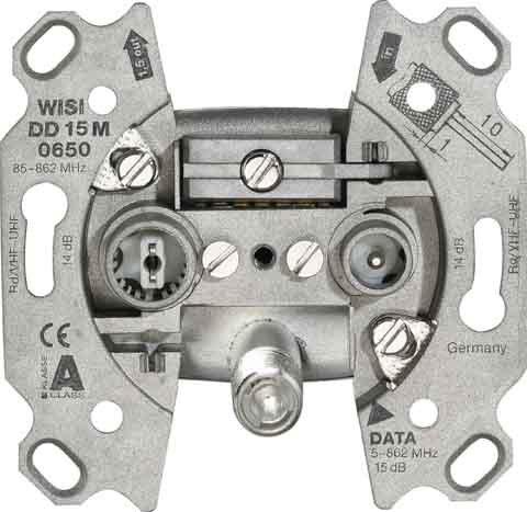 Wisi Durchgangsdose, 14 dB DD15M0650 3-Loch, UM,KDG zert. Antennensteckdose 4010056145682