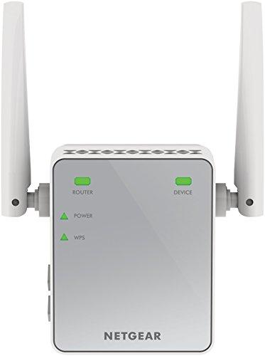 Netgear EX2700-100PES N300 WLAN Repeater (300 Mbit/s, 2,4 GHz, 1x Fast-Ethernet Port, WPA und universell kompatibel mit jedem Router/Modem) weiß/grau